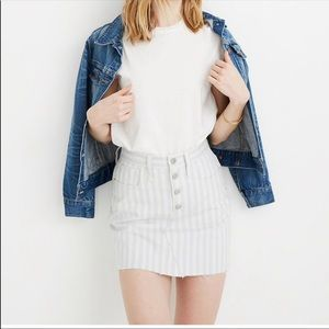 Madewell pompano Blue stripe a line mini skirt 28